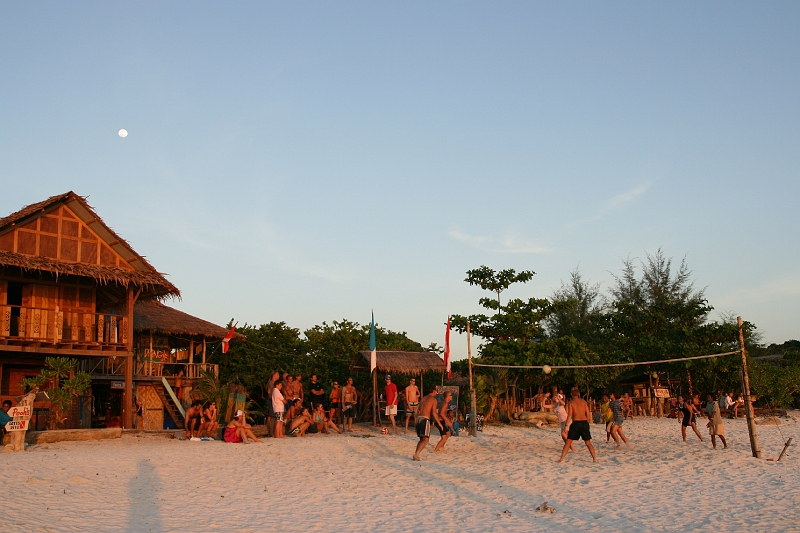 Beach Volleyball is the daily routine on Lipes Pattaya Beach at dawn